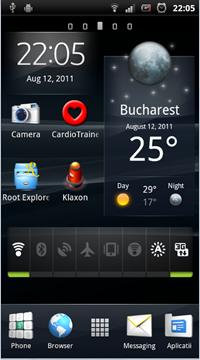 home screen with weather widget