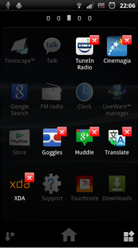uninstall applications from home menu